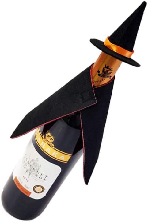 WINOMO 2 Piezas Abrigo Y Sombrero Cubierta de Botella de Vino de Halloween Cubiertas de Botellas de Vino Mini Sombreros de Bruja Tapas de Botellas de Vino para Bar Hogar Decoración de
