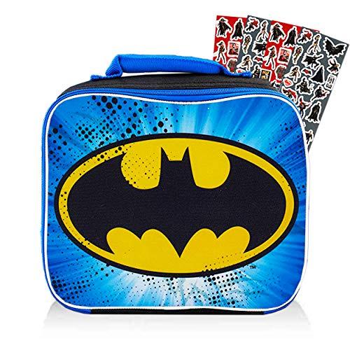 Batman Lunch Box for Boys Kids Bundle ~ Premium Insulated Batman Lunch Bag with Stickers (Justice League School Supplies)