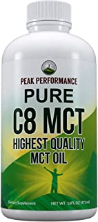 Pure C8 MCT Oil - Highest Quality MCTs for Brain + Keto Diet. 100% Caprylic Acid Triple Distilled, Flavorless, Odorless, Non GMO. Best Ketogenic Oils Supplement for Ketones, Coffee Fat, Octane 16 oz
