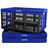 CleverMade 45L Collapsible Storage Bins, Plastic Stackable Grated Wall Utility Containers,...