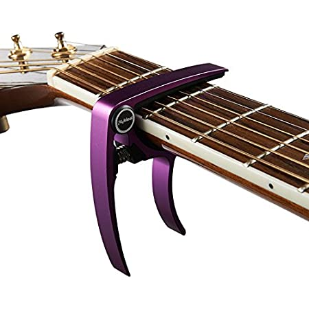 Black Aluminum Metal Universal Guitar Capo,Guitar Accessories,Guitar Clamp Suitable for Flat Fretboard Electric and Acoustic Guitar Single-handed Trigger Style Guitar Capo