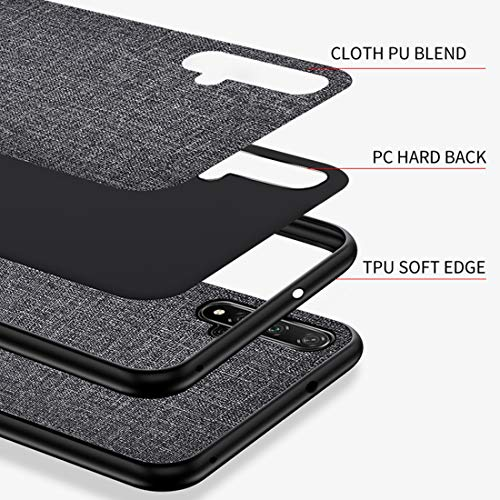 Domxteck Stoff PU Hard Back Cover + weicher TPU Bumper All-Inclusive bruchsichere Silikonhülle für das Honor 20 Pro Case-Schwarz - 2