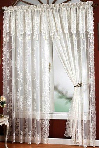 "Carly Lace - 84"" Curtain Panel - Color : Ecru"