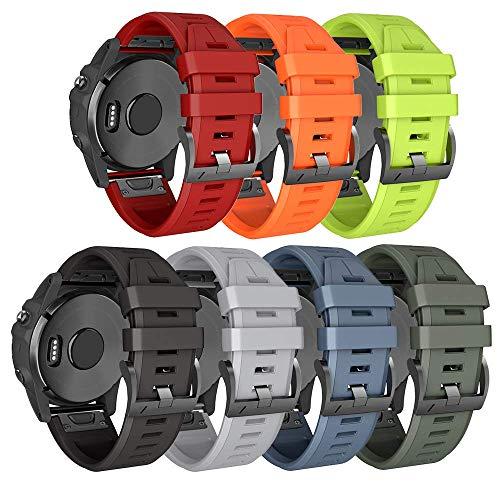 ANBEST Cinturino in Silicone Compatibili con Fenix 6X/Fenix 5X/Fenix 5X Plus/Fenix 6X Pro Cinturino a Cambio Rapido Braccialetti per Fenix 3 / Fenix 3 HR Smart Watch, 7-PACK