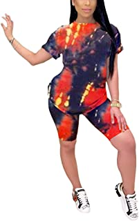 Women Casual 2 Piece Outfit - Colorful Tie Dye Print T Shirt + Shorts Tracksuit Set Jumpsuit Romper