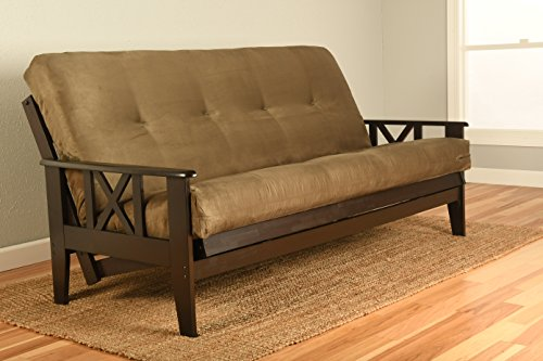 Kodiak Montreal X Espresso Futon Frame w/Quality 8' Innerspring Mattress Sofa Bed Set (Olive Suede Matt and Frame Only)