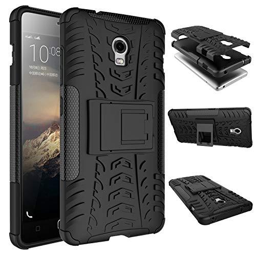 pinlu Funda para Lenovo Vibe P1 Smartphone Doble Capa Híbrida Armadura Silicona TPU + PC Armor Heavy Duty Case Duradero Protección Neumáticos Patrón Negro