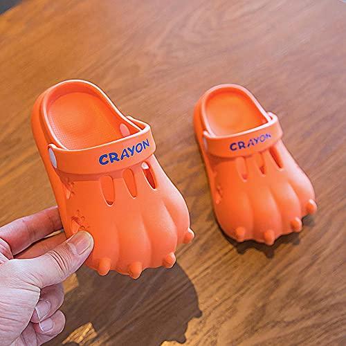 Zapatillas De Casa para Mujer Cerradas,Zapatillas para NiñOs, NiñOs Y NiñAs Dinosaurio Claw Cladding Antideslizante PVC Suave Afuera Playa Cueva Zapatos-Largo (18 Cm / 7.1')_Naranja