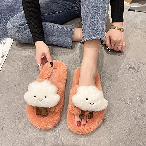 Perferct Felpa Pantuflas,Hombres Y Mujeres Dibujos Animados Nubes Lindas Que Llevan Zapatos De Flip CóModa para La Piel CóModa-EU 38 (240mm / 9.45')_Naranja