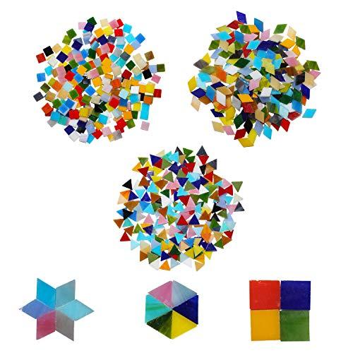 Mozaïek Tegeltjes 3 Vormen (600 Stuks) - Diamant 2 x 1.2cm, Driehoek 1.5cm, Vierkant 1cm – Assortiment Multikleur Glasachtig Glas voor Kunst & Hobby, Thuis Decoratie, Muur, Foto Lijst, Kopje, Spiegel