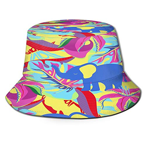 Unisex Bucket Sun Hats Seamless Pattern with Mango Flowers Palm Leaves and Elephants On Yellow Fashion Summer Outdoor Travel Beach Fisherman Cap
