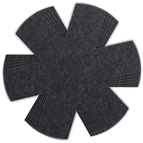 HEYNNA® Premium Pfannenschoner Filz 5er Set für Pfanne und Topf - Stapelschutz auch als Topfschoner - 32cm Pfannenschutz schwarz