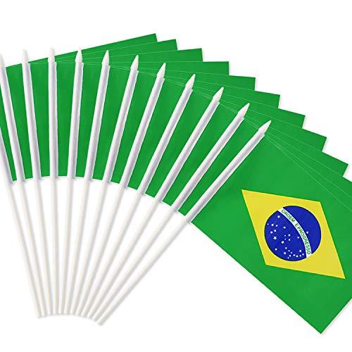 Anley Bandera de Palo de Brasil, Bandera brasileña de 5 x 8 Pulgadas (12 x 20 cm) Mini con Mango de 12