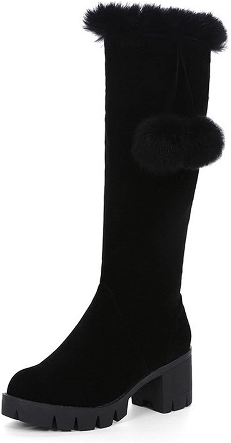 WeenFashion Women's Kitten-Heels Solid Closed Round Toe Frosted Zipper Boots