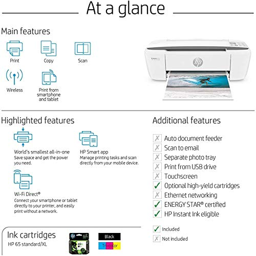 HP DeskJet 3755 Compact All-in-One Wireless Printer with Mobile Printing, Instant Ink ready - Stone Accent (J9V91A) (Renewed) Mississippi