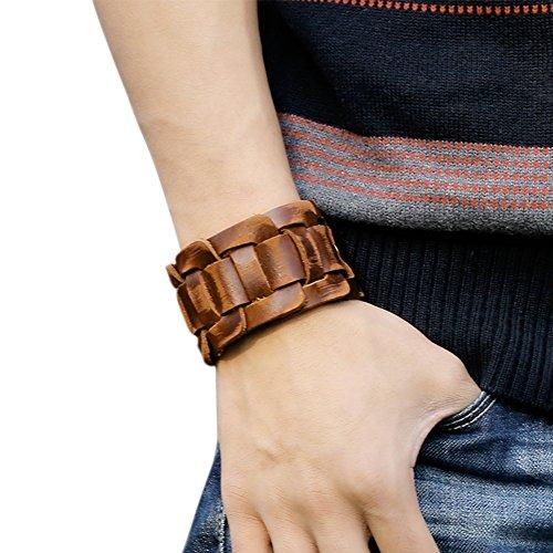 Eleery Faux Cuir Bracelet Menotte Argent Noir Cordon Corde Motard Biker Réglable (Brun )