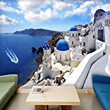 Awttmua Papel Tapiz Fotográfico 3D Grecia Egeo Mediterráneo Murales Grandes Sala De Estar Dormitorio Papel Tapiz Mural No Tejido 250cmx175cm