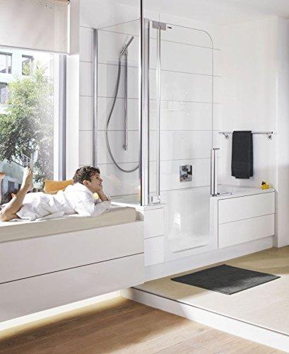 Artweger Twinline 2 Badewanne 160 cm mit Tür Profil Metall hochglanz mit Einlaufgarnitur