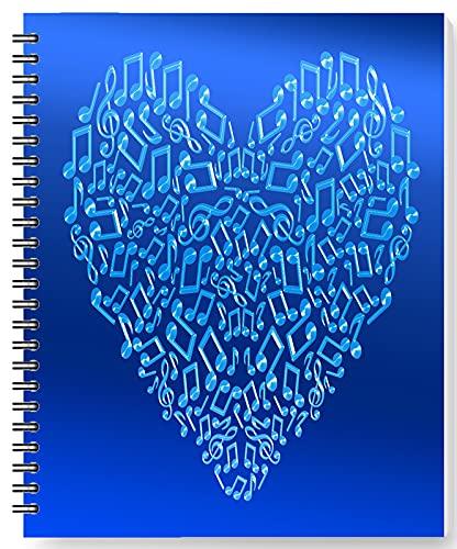 DianPrints Bloc de notas de 80 g/m², con forro de 170 páginas, diseño de corazones musicales, encuadernación de papel