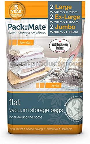 Packmate ® 2 Jumbo, 2 Extragroß, 2 Groß -Vakuumbeutel zur platzsparenden Aufbewahrung - für Kleidung, Bettdecken, Bettwäsche