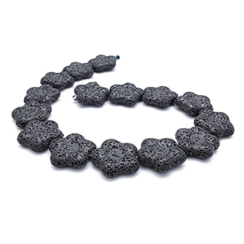 Black Lava Stone Beads Volcanic Gemstone Loose Beads Star Shape Rock Beads for Necklace Bracelet Jewelry Making Finding (Black, Small)