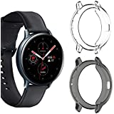 HATALKIN Screen Protector Compatible with Samsung Galaxy Watch Active2 Screen Protector TPU Case Scractch-Resist Frame Protective Cover (2-Pack) (Clear+Black, 44mm)