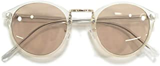MERRY PLEASURE (メリープレジャー) サングラス 伊達メガネ ボストン ラウンド 丸メガネ クリアーフレーム 透明メガネ ライトカラーレンズ 薄い色 カラーレンズサングラス メンズ レディース アジアンフィット