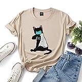 Covid-19楽しい黒猫の男性と女性のTシャツ、レディースプラスサイズのシャツをマスク (Color : Coffee, Size : M)
