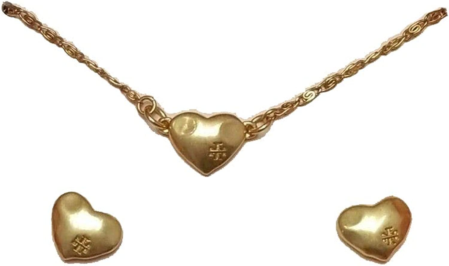 Tory Burch Women's Delicate Heart Necklace and Stud Earring Set in Vintage Gold
