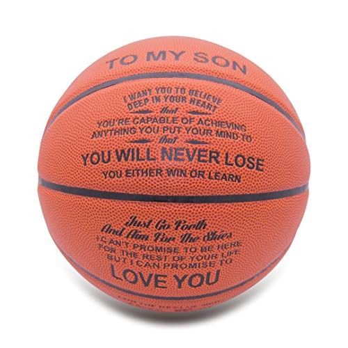 Engraved Basketball Gift for Son- You Will Never Lose -Indoor/Outdoor Game Leather Basketball,Personalized Size 7 Basketball Graduation Gift Birthday Back to School Holiday Souvenir (Mom to Son)