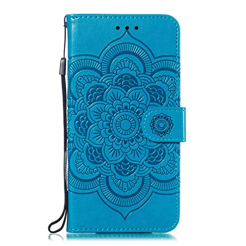 Bear Village Coque pour Huawei P Smart 2018 / Huawei Enjoy 7S, Gaufrage Étui en Cuir pour Huawei P Smart 2018 / Huawei Enjoy 7S, Multifonction Housse AVCE Fentes pour Cartes, Bleu