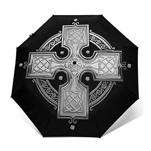 Ancient Celtic Knot Cross Windproof Travel Umbrella Open/Close Triple Fold Umbrella