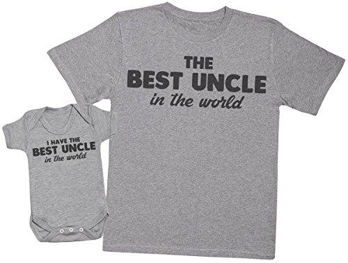 Zarlivia Clothing I Have The Best Uncle in The World - Ensemble Tontons bébé Cadeaux - Hommes T Shirt & Barboteuse - Gris - Medium & 18-24 Mois