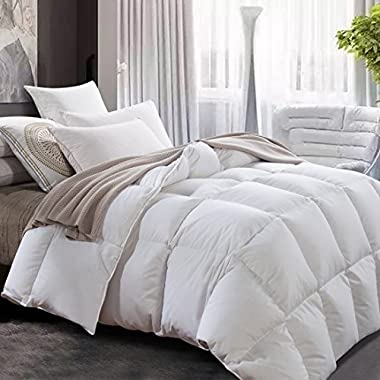 ROYALAY Luxurious All Seasons Lightweight White Goose Down Comforter-Solid White Hypo-allergenic Duvet Insert 600 Thread Count 600FP 100% Cotton Shell Down Proof With Tabs (Queen)