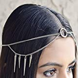 Haloty Gothic Tassel Head Pieces Silver Rock Rivet Eqyptain Forehead Punk Hair Accessories Featival Indian Prom Costume Headdress for Women and Girls