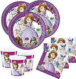 CAPRILO Lote de Cubiertos Infantiles Princesa Sofía Disney (8 Vasos, 8 Platos(23 cm) y 20 Servilletas) .Vajillas y Complementos. Juguetes para Fiestas de Cumpleaños, Bodas, Bautizos y Comuniones.