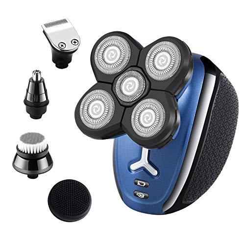 Roziapro Elektrorasierer für Männer Kopfrasierer für kahle Männer 5-in-1-Pflegeset Haarschneidemaschine Nasenhaarschneider Bartschneider Schnurloser wasserdichter USB-Akku