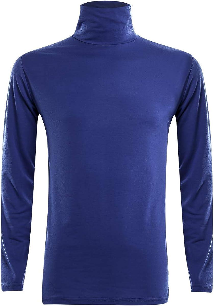 Men's Slim Fit Turtleneck T-Shirt Lightweight Long Sleeve Plain Thermal Baselayer Top Fall Winter Undershirt
