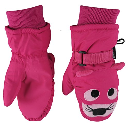 N'Ice Caps Little Girls and Baby Cute Animal Faces Waterproof Winter Mittens (2-3 Years, Tiger - Fuchsia)