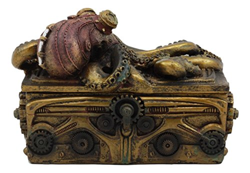 Ebros Faux Bronze Steampunk Octopus On Pirate Treasure Chest Decorative Jewelry Box Figurine Gas Mask Kraken Foot… 5