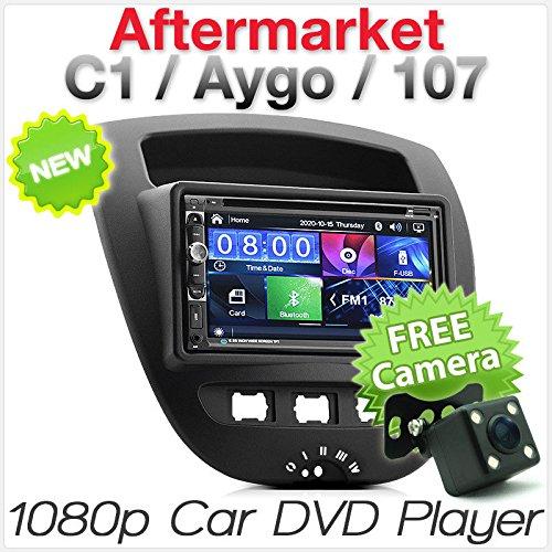 TUNEZ® 7 Pouces écran Tactile Double Din Voiture Audio DVD CD MP3 MP4 Lecteur vidéo Compatible avec Aygo Citroen C1 Peugeot 107 Kit d'unité de tête