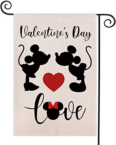 Weimaro Valentine's Day Garden Flag, Burlap Double Sided Garden Outdoor Yard Flags, Love Heart Garden Flag, Happy Valentine's Day Decorations Banner, Wedding Anniversary Garden Flag, 12.5 x 18 Inches Montana