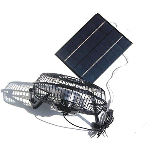 NUZAMAS Ventilador grande de 5,2 W 6 V con panel solar de 8 pulgadas para camping, caravana, yate, invernadero, casa de perro, gallina