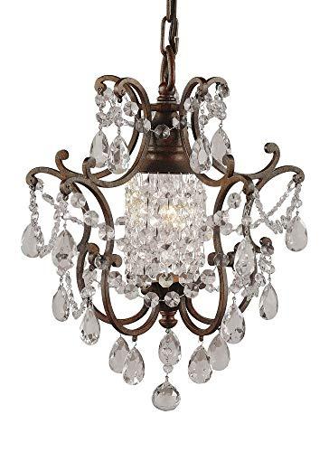 "Feiss F1879/1BRB Maison De Ville Crystal Mini Chandelier Lighting, Bronze, 1-Light (11""Dia x 14""H) 100watts"
