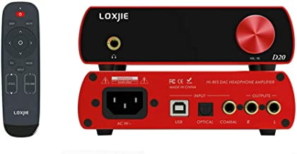 LOXJIE D20 Audio DAC Desktop Digital to Analog Converter & Headphone Amplifier Chip AK4497 Support 32bit/768kHz DSD512 OLED Display(Red)