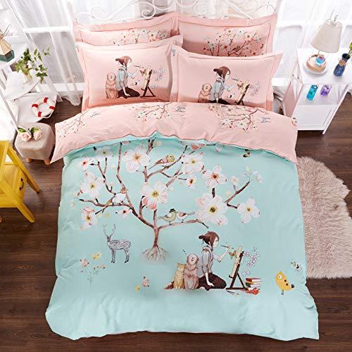 yaonuli Warmdruck 2 m vierteilige Hochzeit vierteilige Pfirsichblütenquelle - LAN 2,2 m Bett