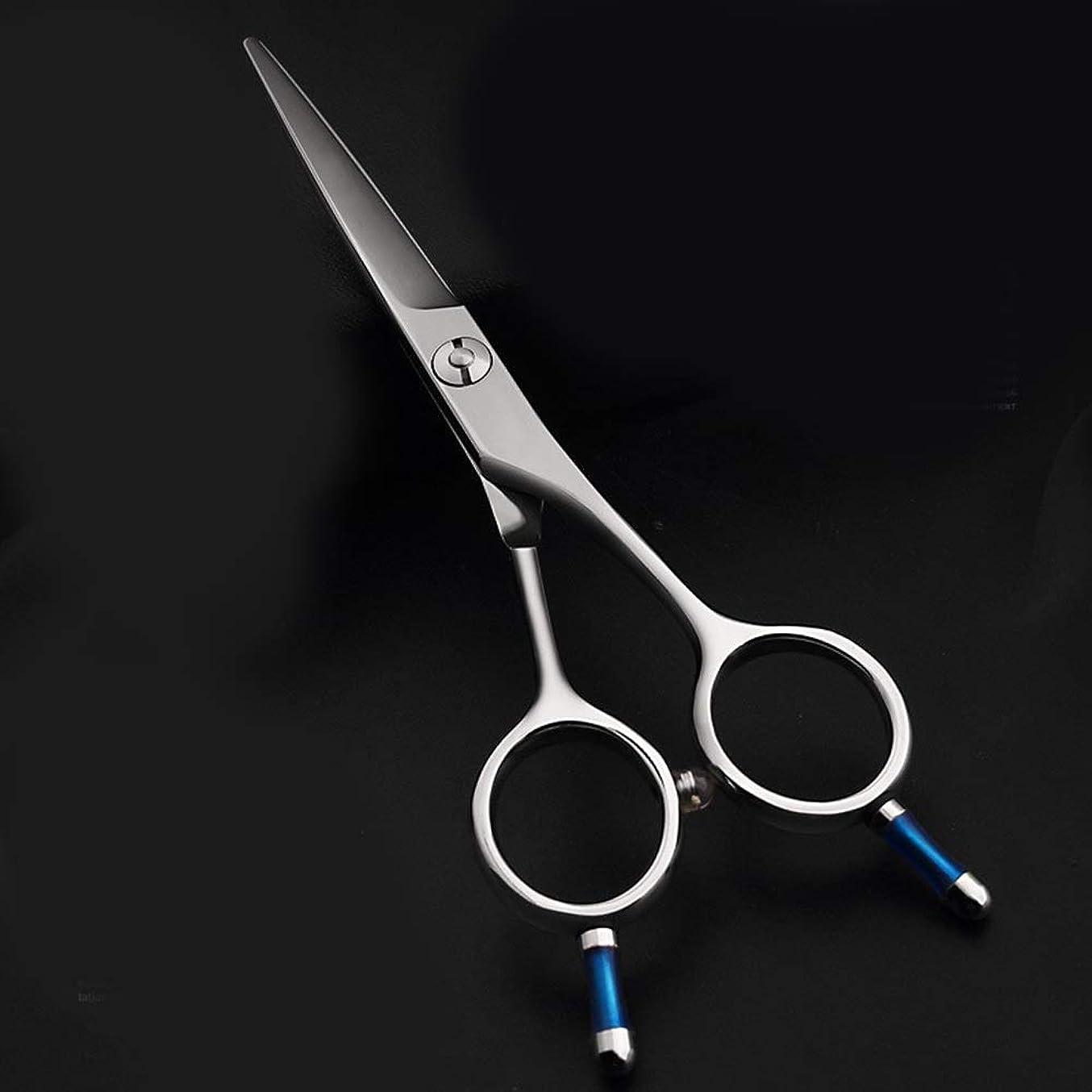 スラッシュアンプ憤る5.5インチの理髪はさみ、440 CプロフェッショナルAワードせん断、美容院特別左利き利用可能な理髪はさみ モデリングツール (色 : Silver)