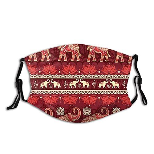 asdew987 Máscara facial de algodón ajustable con diseño de elefante étnico para mujeres, hombres y mujeres