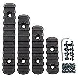 Set de 4 railes de Diferentes Medidas de polímero para guardamanos Tipo m-lok y keymod en Color Negro con Tuercas y Tornillos de Anclaje