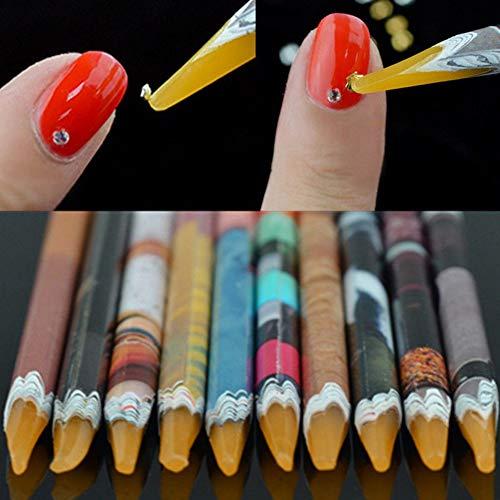 Bbl345dLlo - Bolígrafo de punta de puntos, cera de cera, lápiz de estrás para manualidades, salón de manicura, color al azar